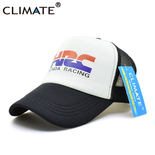 CLIMATE Men New Cool Trucker Caps HRC Honda Racing Car Motorcycle Fans Cap Cool Summer Baseball Mesh Net Hip Hop Cap Hat For Men 3