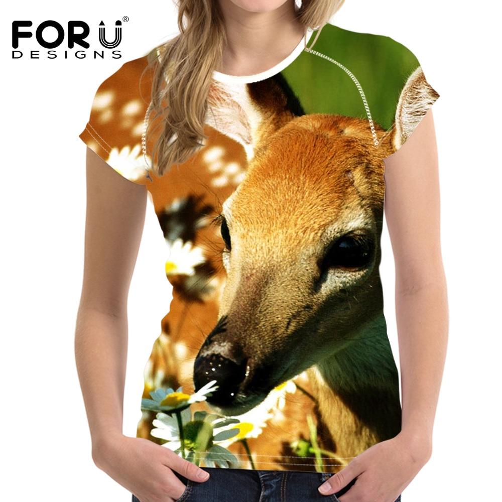 FORUDESIGNS Lucky Sika Deer Women Short Sleeve T-shirt Casual O-Neck Funny Print Lady Top Female Fashion Tee Shirts Harajuku