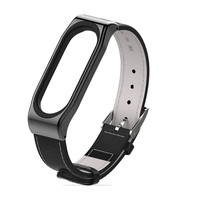 Mijobs-correa de piel auténtica para Xiaomi mi band 3, correa negra para reloj inteligente, sin tornillo