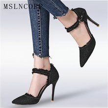 Plus Size 34-47 Spring Summer High Heels Denim Sandals Dress Pointed Toe Ankle Buckle strap lady Pumps sexy Women Party shoes