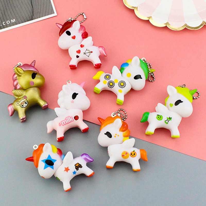 1 יחידות חמוד Cartoon Unicorn מחזיקי מפתחות תליון עבור תיק תיק קסמי Carkey אבזר מעולה מתנת חידוש מוצר