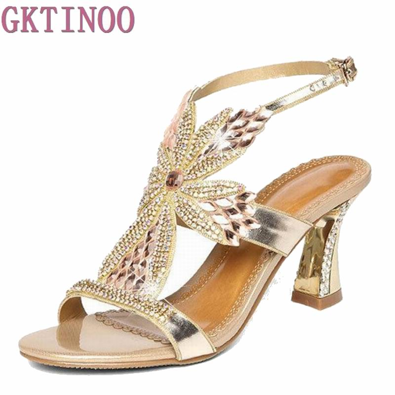 Summer Rhinestone Thick Heels Women Sandals Shoes Sexy Open Toe Wedge Shoes Woman High Heels Sandals Platform royal blue women sandals hollow out thick heels open toe platform shoes woman sapato feminino sandalia feminina size 14 heels