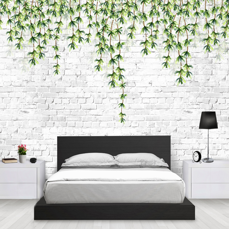 Nordic Modern Simple Green Leaves White Brick Wall Paper Mural Papel De Parede 3D Living Room Sofa TV Background Photo Wallpaper