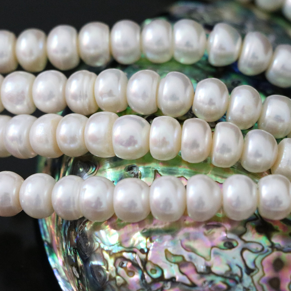 Trendy natural freshwater white pearl abacus beads 9-10mm party weddings fine jewelry making 15inch B1391