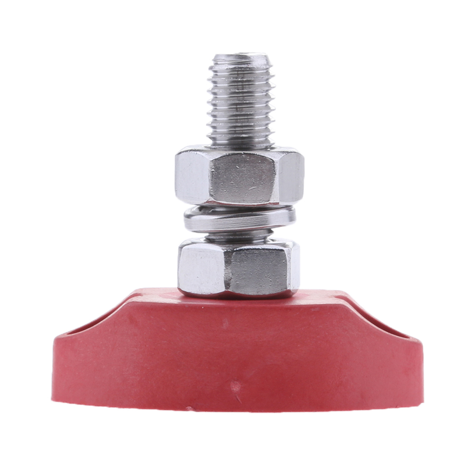 1//4 inch 6mm Positive Insulated Single Stud Power and Ground Junction Post 2pcs DC 12V Bus Bar Terminal Block Red+Black