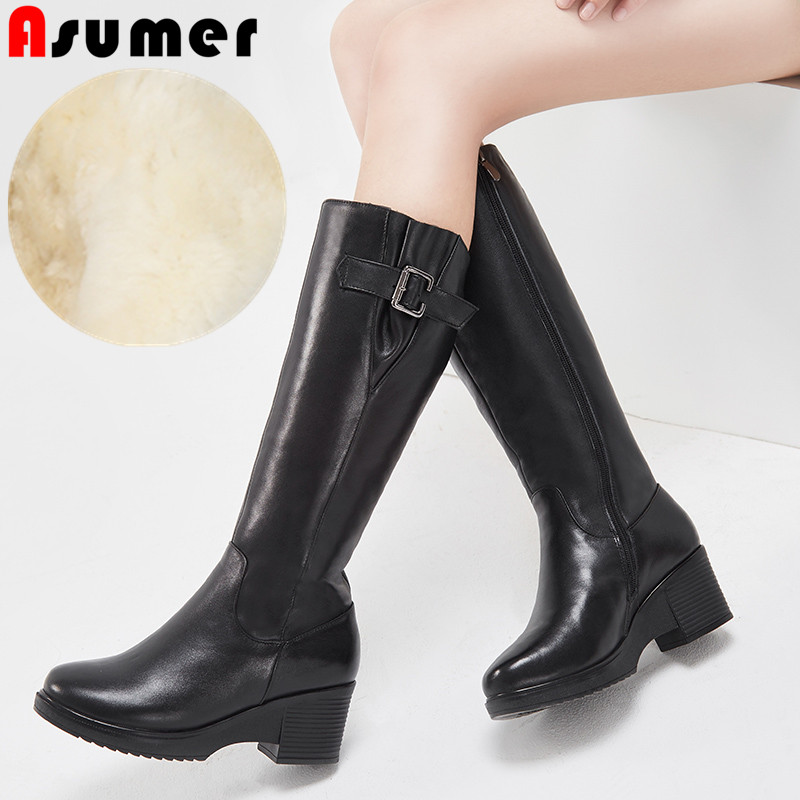 ASUMER black fashion knee high boots round toe zip pu+cow leather boots shearling keep warm winter women snow boots big size  ASUMER black fashion knee high boots round toe zip pu+cow leather boots shearling keep warm winter women snow boots big size