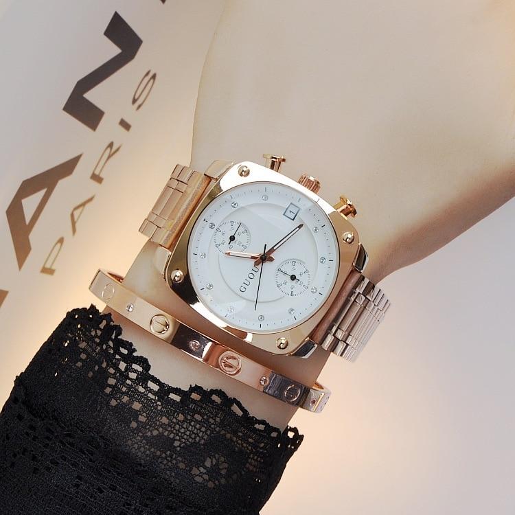 Высокое качество аутентичная Мода HK бренд GUOU часы женские водостойкие сплав Квадратные Кварцевые женские наручные часы Бесплатная доставк...