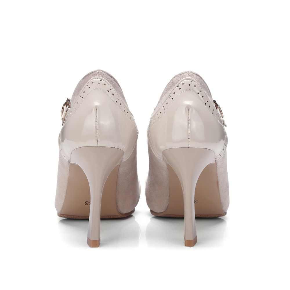2019 vrouwen pompen hoge hak dunne schoenen T-strap patent leather patchwork suede super hoge stiletto preppy stijl plus grote maat