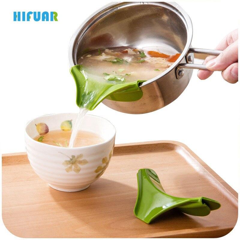 Hifuar Kitchen Silicone Soup Pour Tool Liquid Funnel Diversion Mouth Kitchen Anti-Spill Gadgets for Pots Pans Bowls Jars