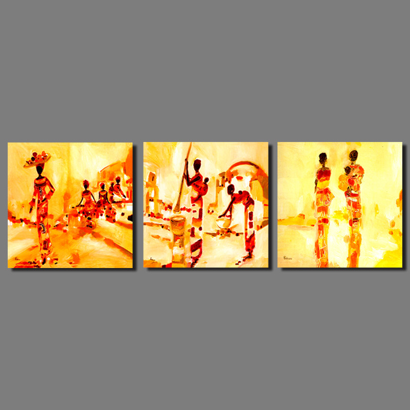 3pcs/set Retro Abstract Art yellow picture decoration Indian women ...