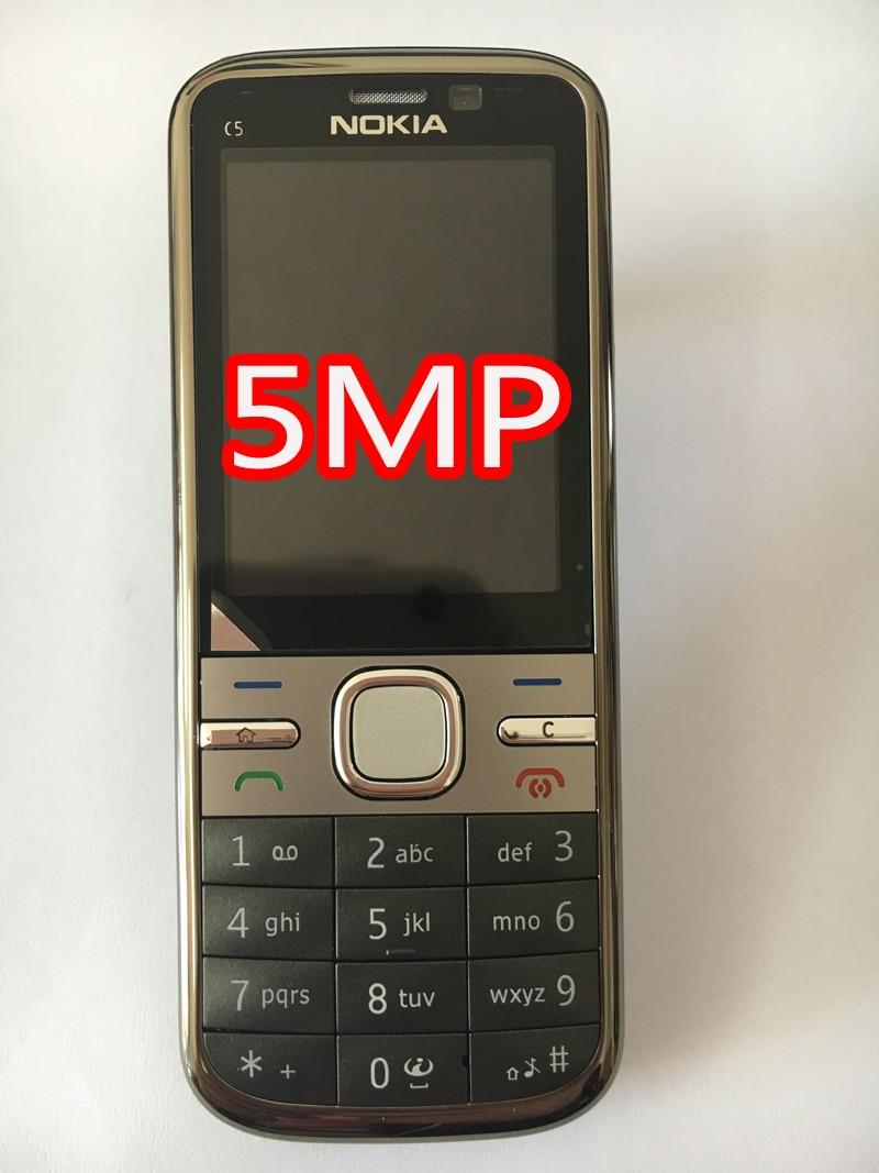 NOKIA C5-00 C5 мобильный телефон разблокированный иврит Арабский Русский Клавиатура Восстановленный мобильный телефон - Цвет: grey 5MP