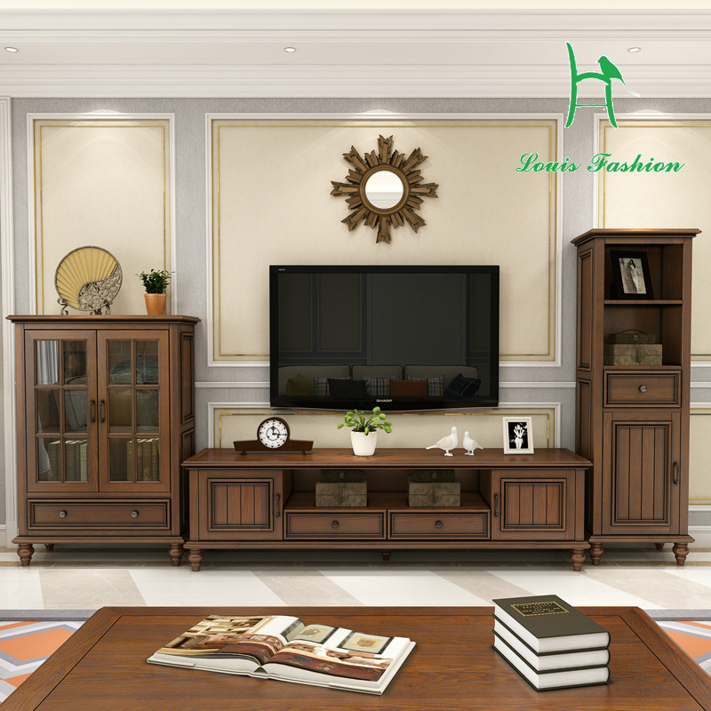 American Country Style Real Ash Wood Tv
