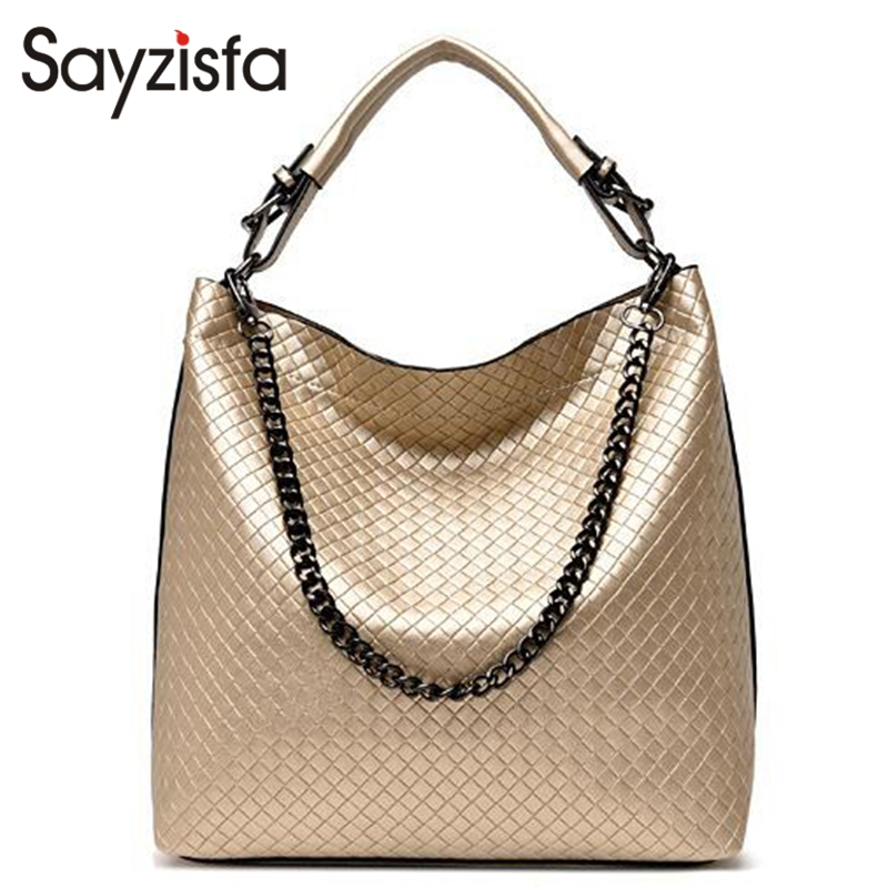 2018 Chain Bucket Women Bag New Fashion PU Leather Women Shoulder Bag Big Luxury Brand Ladies Hand bags Large Tote Bag T335 women wide shoulder strap leather handbag shoulder bag bucket chunky chain bag winter 2017 new female purse hand bags