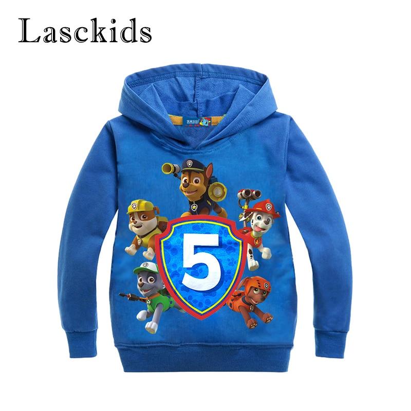 Lasckids Boys Sweatshirts Kids Clothes Cartoon Dogs Print Cotton Long Sleeve Spring Autumn Children Girls Sweatshirt Tops Hoody