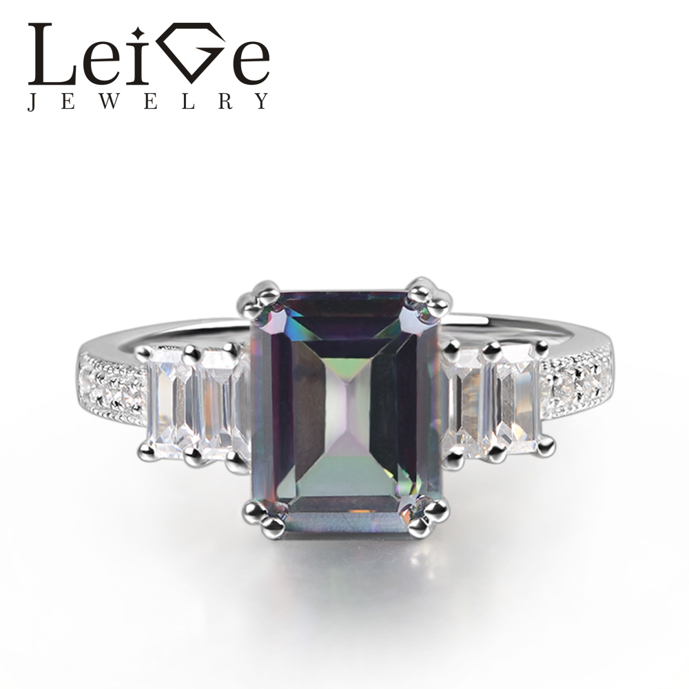 Leige Jewelry Mystic Topaz Ring Emerald Cut Rainbow Gemstone Prong Setting 925 Sterling Silver for Women Engagement Ring Leige Jewelry Mystic Topaz Ring Emerald Cut Rainbow Gemstone Prong Setting 925 Sterling Silver for Women Engagement Ring