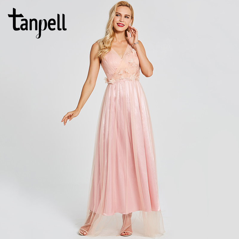 Tanpell Flowers A Line Prom Dress Pink Sleeveless V Neck Ankle Length Dresses Women Backless Appliques Formal Evening Prom Gown