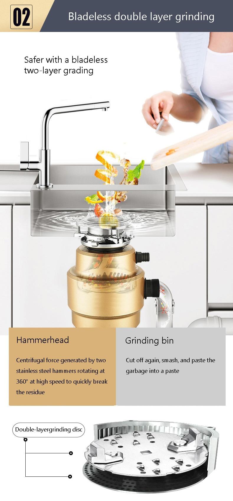 resíduos alimentos cozinha triturador 400 w moedor