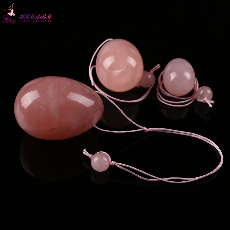 HIMABM Natural Rose Quartz jade egg for Kegel Exercise 3pcs in one sets pelvic floor muscles vaginal exercise yoni ben wa ball himabm small size 50 35mm drilled natural rose quartz jade egg for kegel exercise pelvic floor muscles ben wa yoni ball