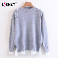LIENZY Autumn Pearls Sweater For Women Patchwork Lace Knitting Pullovers O Neck Long Sleeve Pink Grey