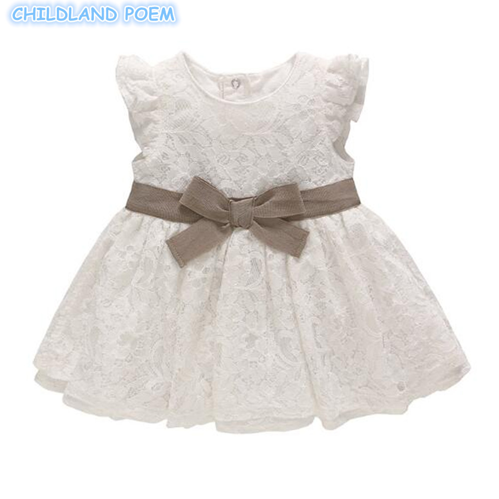 Baby 1st Birthday Dress Lace Princess Party White Baby Dresss Newborn Baptism Christening Ball Gowns Bow Cotton Vestido Infantil