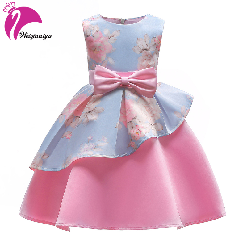 Princess Dress For Girl Summer 2018 Kids Party Dresses For Girls Children Floral Birthday Dresses For Girl Kids Print Gown Dress girls dresses 2017 summer new lace speaker sleeves children dress cute embroidered girl dress floral child ball gown party dress