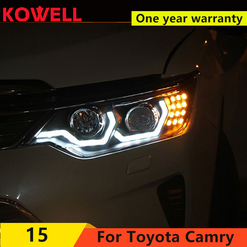 KOWELL car styling For Toyota Camry 2015 2017Headlights LED Headlight with double U Bi Xenon Lens