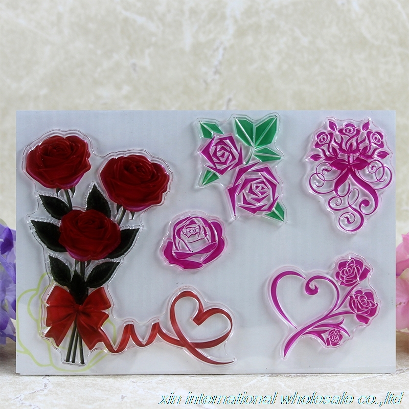 2pcs Angels and roses clear stamps embossing folders ACRYLIC VINTAGE craft stamps sellos de silicona para diy scrapbooking tian rui acrylic craft