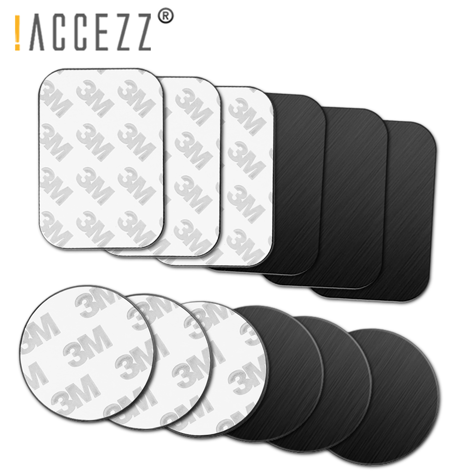!ACCEZZ 10Pcs/5Pcs Pack Metal Plate For Magnetic Car Phone Holder Iron Sheet Sticky Magnet Disk Strong Adhensive Phone Stand GPS