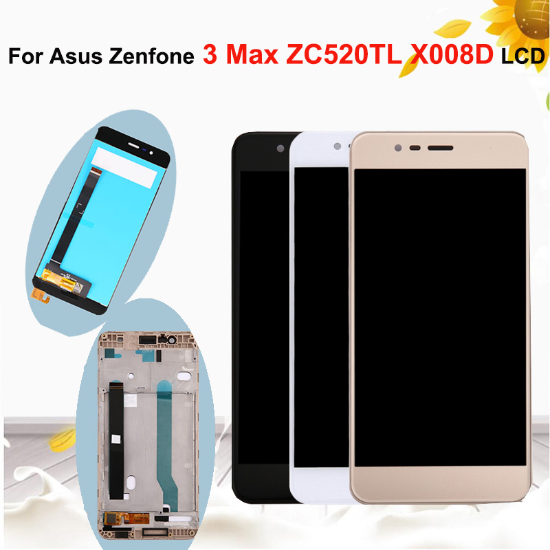 5.2''Original LCD Display For <font><b>Asus</b></font> <font><b>Zenfone</b></font> 3 Max ZC520TL <font><b>X008D</b></font> LCD Display <font><b>Glass</b></font> Touch Screen Digitizer Assembly with Frame image