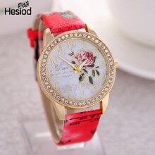 2017 New Fashion Chinese Style Peony Pattern Watch Gilt Digital Quartz Casual Leather Clock Women Dress Cartoon Wristwatch Hot