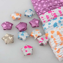 Hot Sell 18pcs Fashion Childern Toy Glitter Wish Origami Star Shinny Lucky Fold Paper Strip Ribbon Toys FL