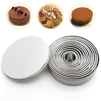 12Pcs Set Stainless Steel Cookie Cutter Cake Decoration Molds Biscuit Cookie Presser Mousse Cake Ring Baking