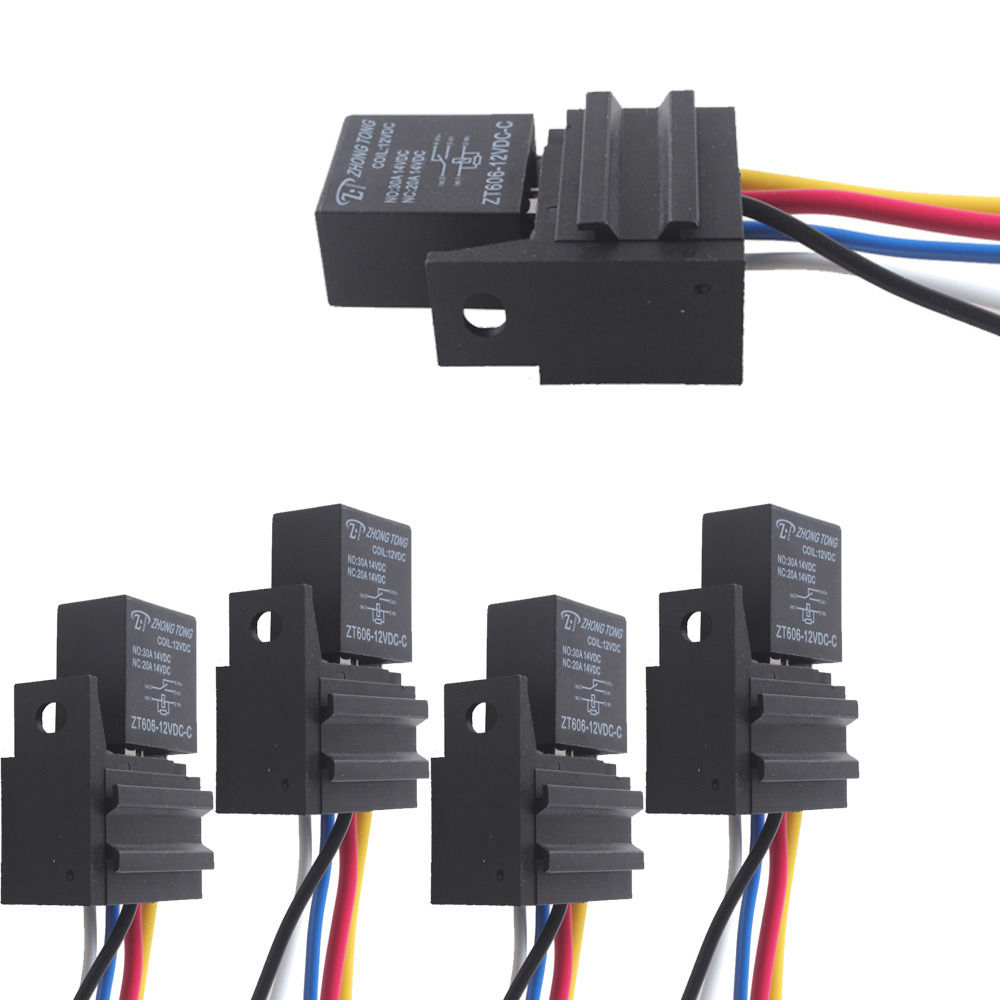 Ee Support 5 X Car 30a Amp 12v Relay Kit Spdt For Fan Fuel Pump Light Horn 5pin 5 Wire Xy01
