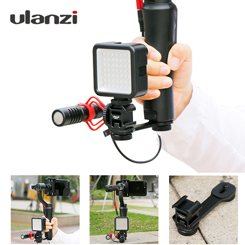 Ulanzi on-Camera LED Video Light w Boya BY-MM1 Vlogging Recording Microphone Setup for Zhiyun Smooth 4/DJI OSMO 2/Feiyu Vimble 2