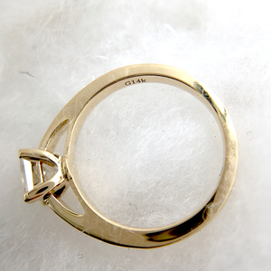 Image 4 - 1 Carat Elegant DEF Color Princess Halo Engagement Wedding Moissanite Diamond Ring For Women Real 14k 585 Yellow Gold