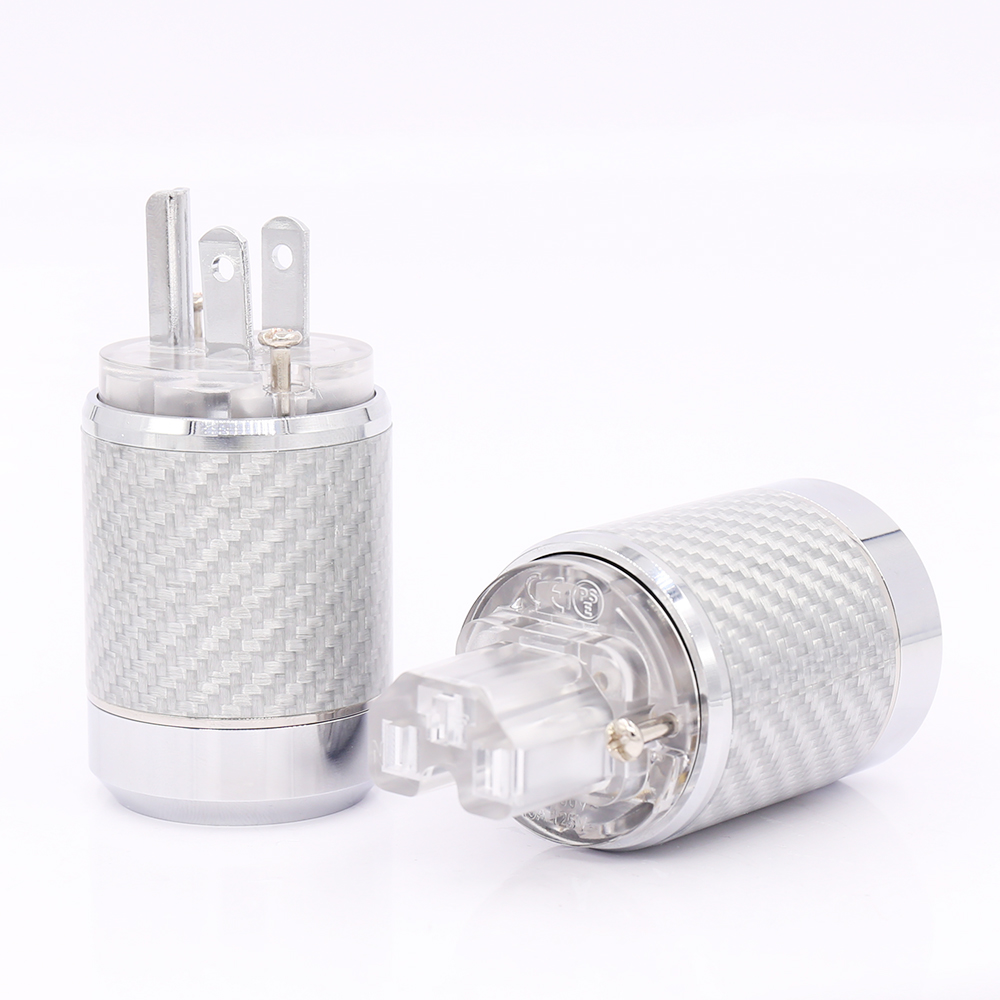 Free shipping Carbon Fiber Rhodium Plated US Power Connector US Male Plug IEC Connector carbon fiber rhodium plated us power plug connector iec audio plug hifi