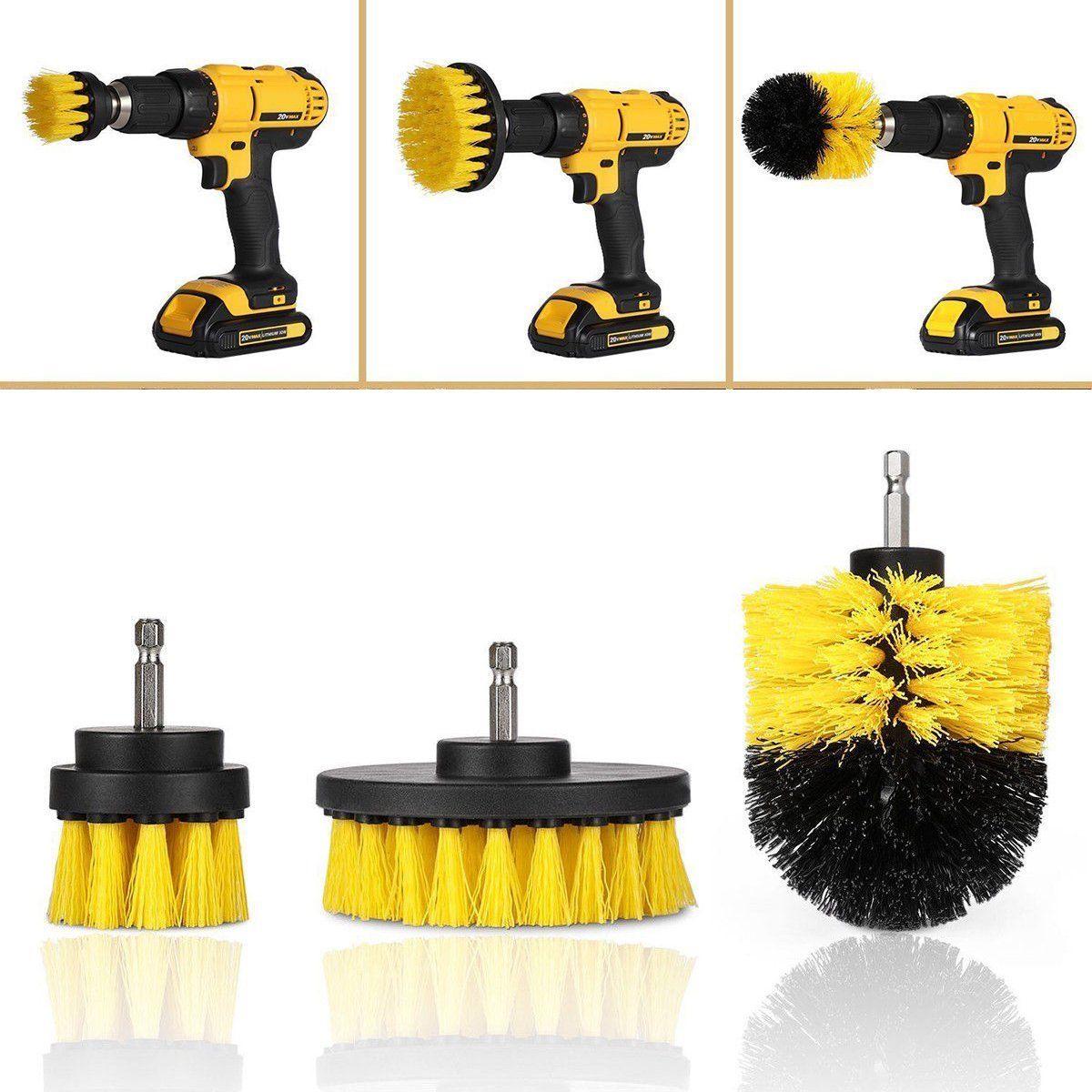 Brush Sensible 3pcs/set Yellow Electric Drill Brush Plastic Round Cleaning Brush For Carpet Glass Car Tires Nylon Brushes Power Scrubber Drill 100% Original