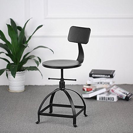 Chair Industrial Chic Metal Round Seat Adjustable Height Bar Stool With Curve Backrest Black Color Adjustable Swivel Bar Stools