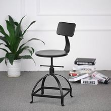 Chair Industrial Chic Metal Round Seat Adjustable Height Bar Stool with Curve Backrest Black Color Adjustable Swivel Bar Stools(China)