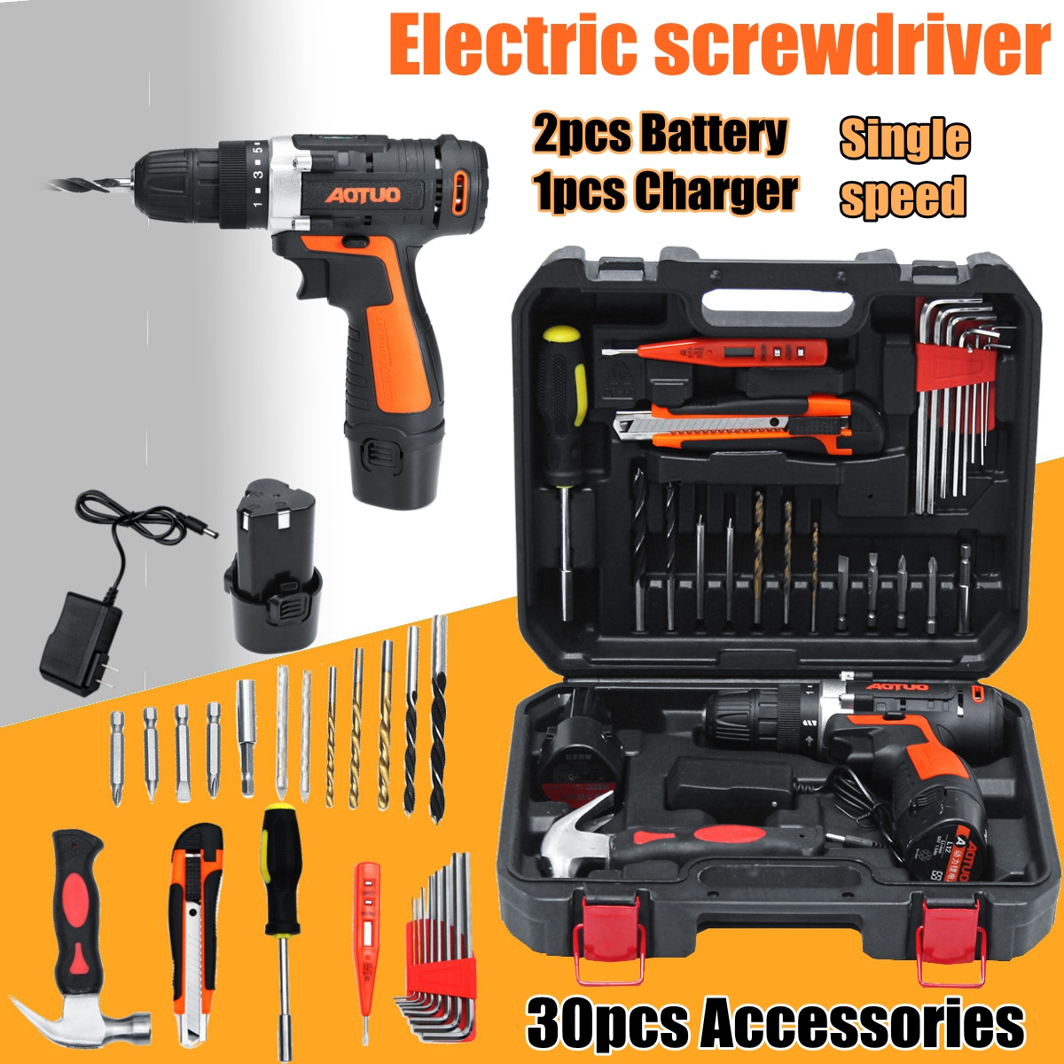 Cordless 12V Electric Screwdriver Power Drills Kit Rechargeable Screwdriver Single/Double Speed 2 Battery+30PCS Accessories 2016 45 pcs rechargeable cordless reversible electric screwdriver 4 8v kit set hot handheld electric screwdriver