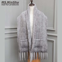 Натуральный женский норковый мех шаль ручной вязки большой размер обертывания настоящий норковый мех шарф Модное пончо роскошный меховой
