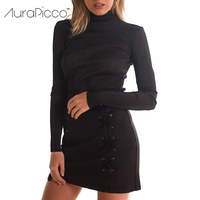Suede Faux Leather Bandage Mini Pencil Skirt High Waist Double Side Slit Lace Up Slim Short