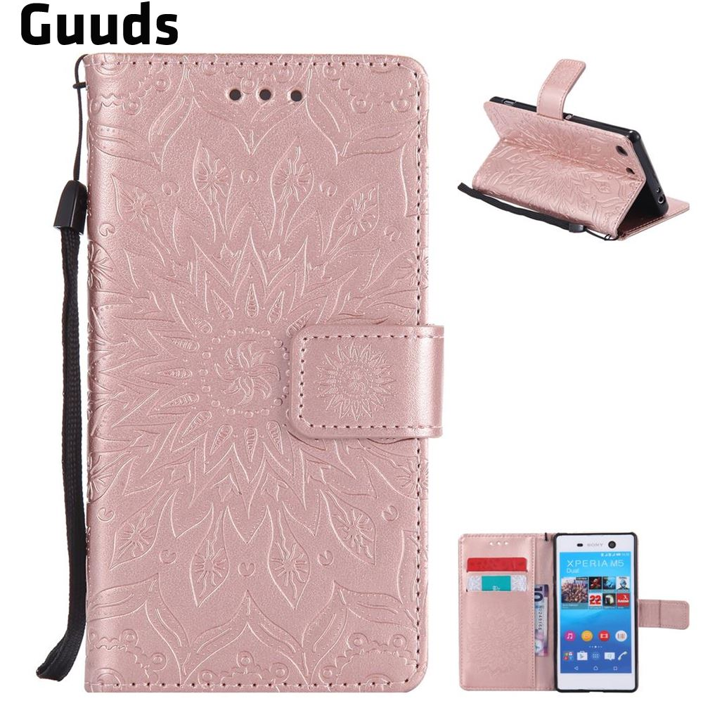 For Sony Xperia M5 Leather Case Embossing Sunflower Leather Wallet Case for Sony Xperia M5 E5603 / M5 Dual E5633 FREE SHIPPING