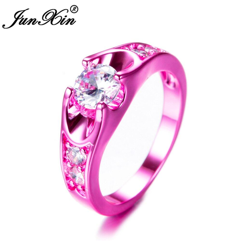 JUNXIN Luxury Male Female White Round Ring Ring Fashion Pink Gold ...