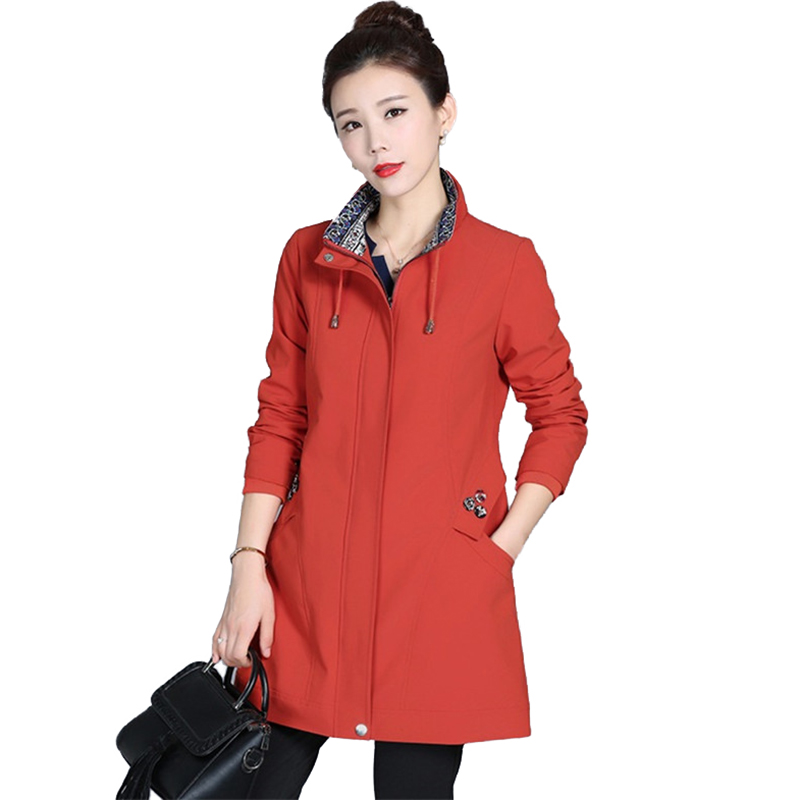 Trench   Coat Women 2019 Spring Autumn Standing collar Windbreaker Middle aged Female Plus size Cotton   Trench   Coat Casual Top H729