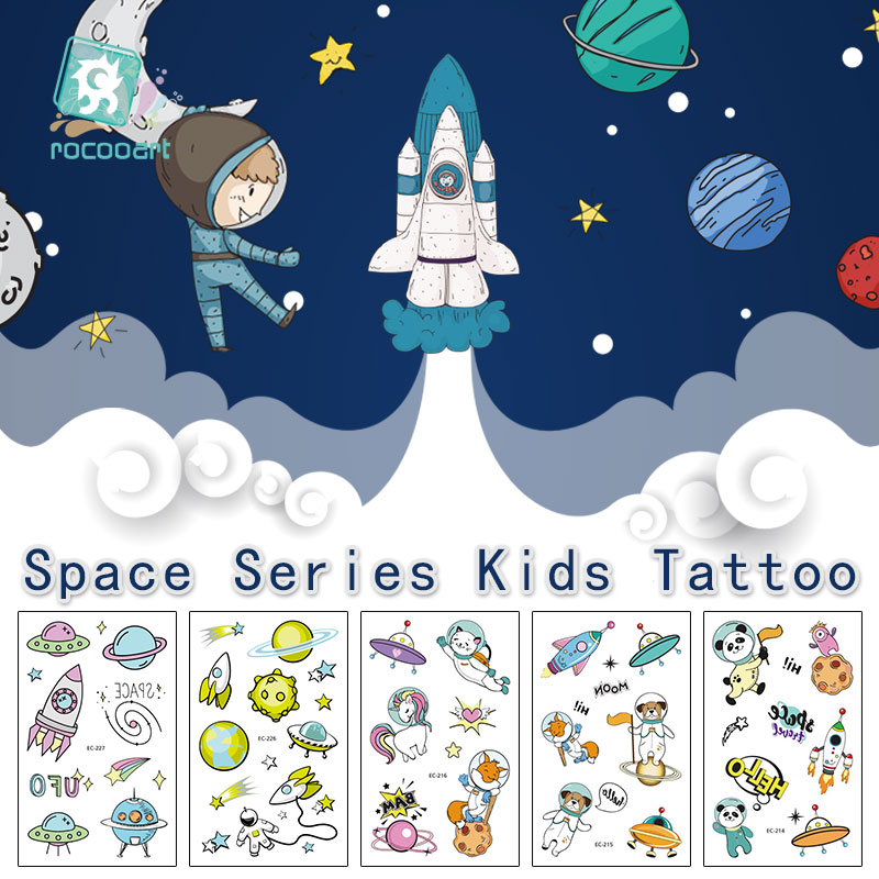 Rocooart Cartoon Space Tattoo For Kid Cute Fake Taty Children Tatouage Rockets ET Body Art Waterproof Temporary Tattoo Sticker