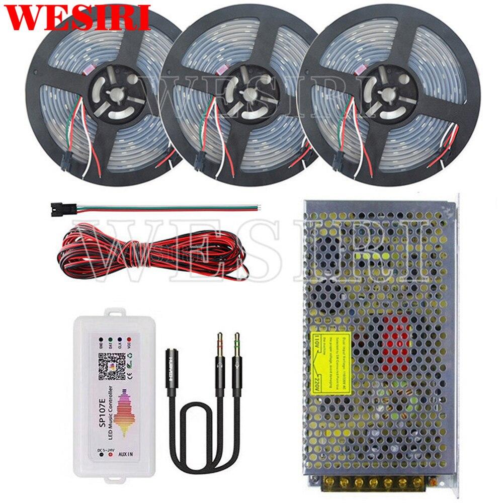 DC5V 5m 10m 15m 300leds WS2812B Addressable LED Pixel Strip SP107E APP Music Controller Power Supply