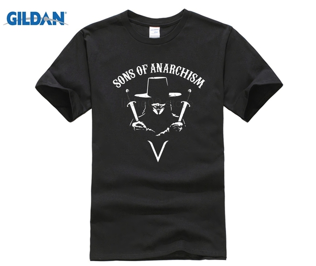 023f64ad GILDAN Sons of Anarchism T Shirt Top Anarchy Anonymous 4chan Hacktivism V  for Vendetta Men'S Funny