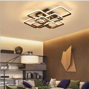 Image 2 - Plafonnier rectangulaire en acrylique et aluminium, plafond moderne à LEDs lumières blanches, idéal pour un salon ou une chambre à coucher, AC85 265V