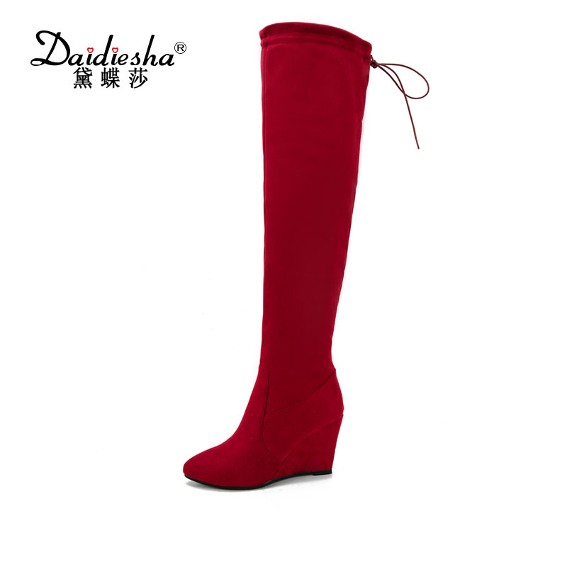 Daidiesha 2018 Classic Ladies Winter Shoes Wedge High Heel Over The Knee Boots Flock Shoes Woman Motorcycle Boots Ladies Shoes цена